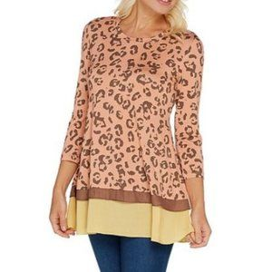 LOGO Printed Knit Top with Contrast Hem 1179